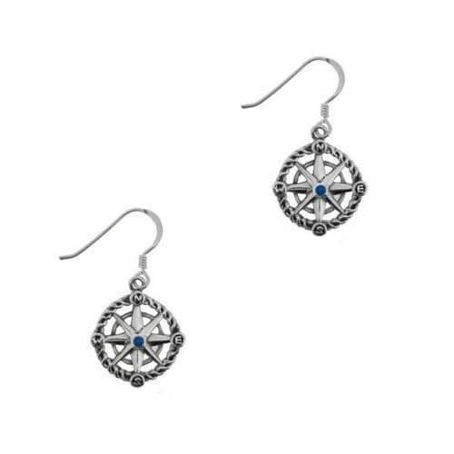Outlander Inspired Compass Silver Drop Earrings With Sapphire Colour Stone